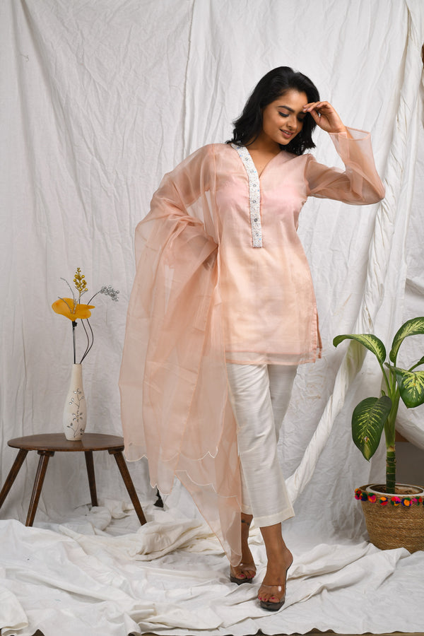 Peach short kurta having embroidered placket with straight pants and dupatta