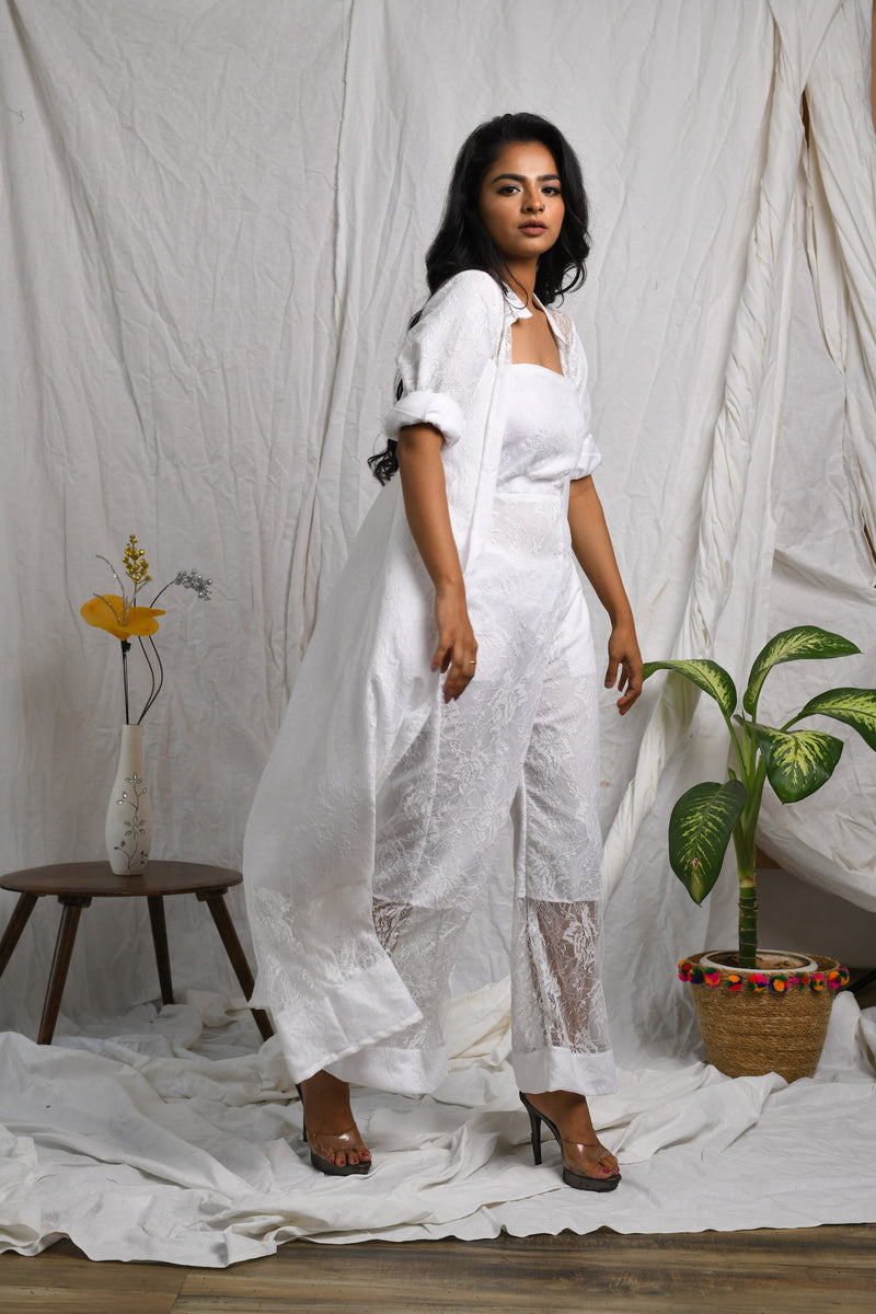 Self embroidered tube jumpsuit with long shrug