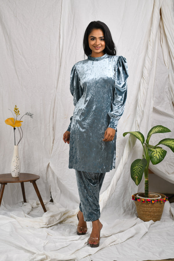 Velvet cowl sleeve kurta with salwar