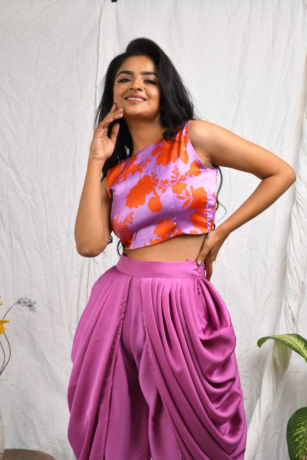 Cowl style dhoti pants with printed crop top