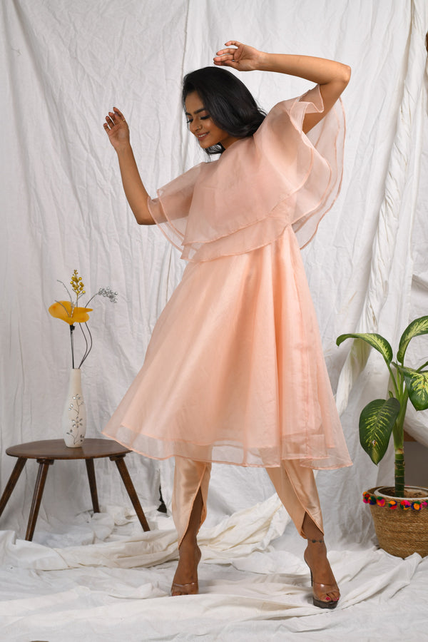 Double cape style organza kurta with dhoti pants