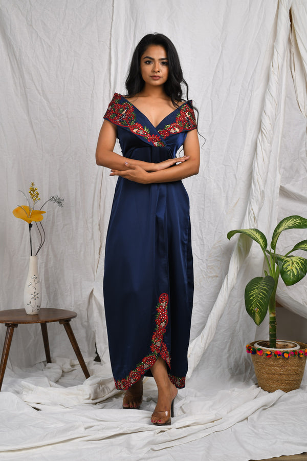 Off shoulder collared double breasted embroidered maxi dress