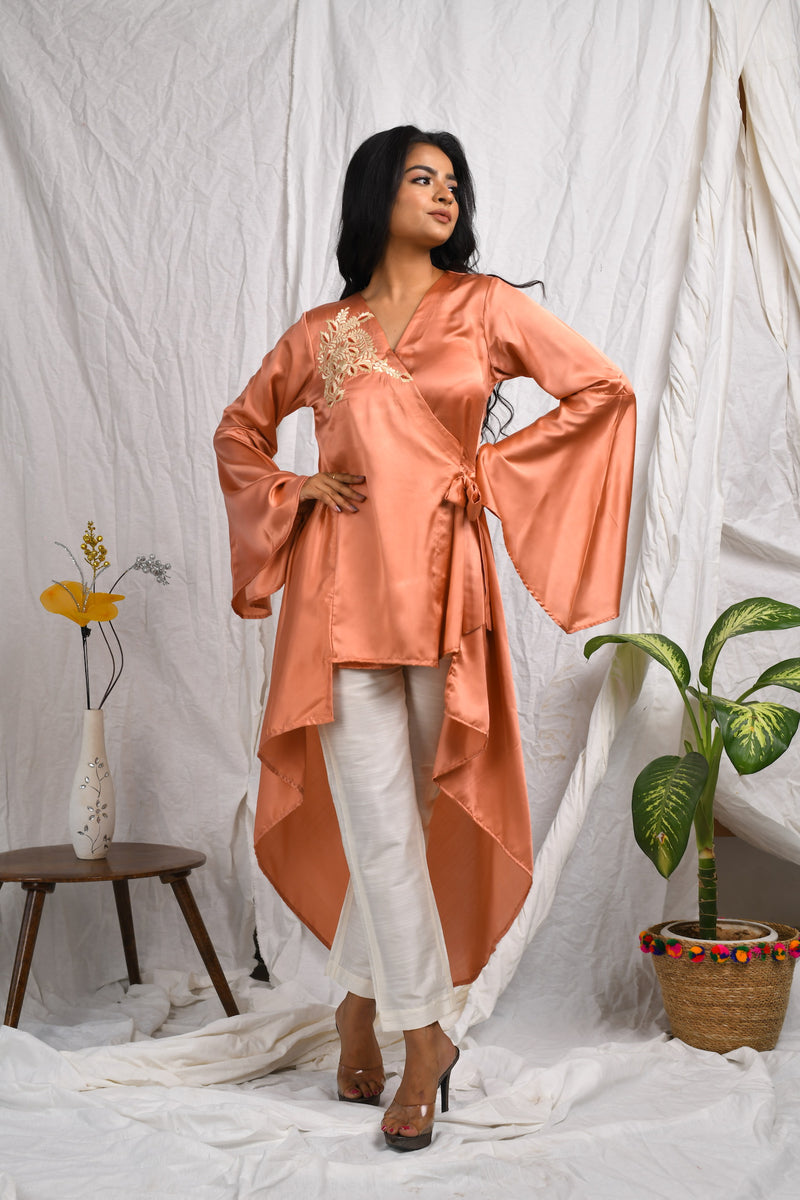 Asymmetrical hi-low kurta and one shoulder embroidery with straight pants