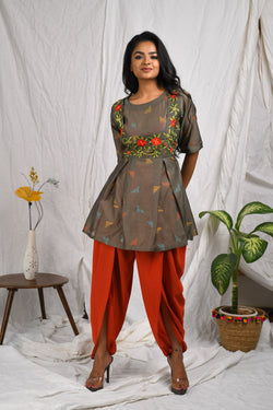 Front bodice embroidered with box pleat kurta with dhoti