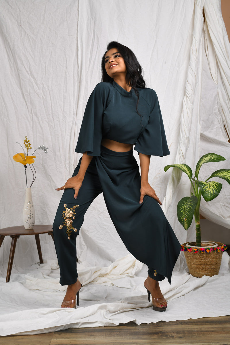 Green pants with drape around & bell sleeve crop top