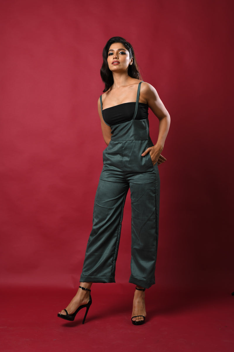 Suede Dungary Jumpsuit