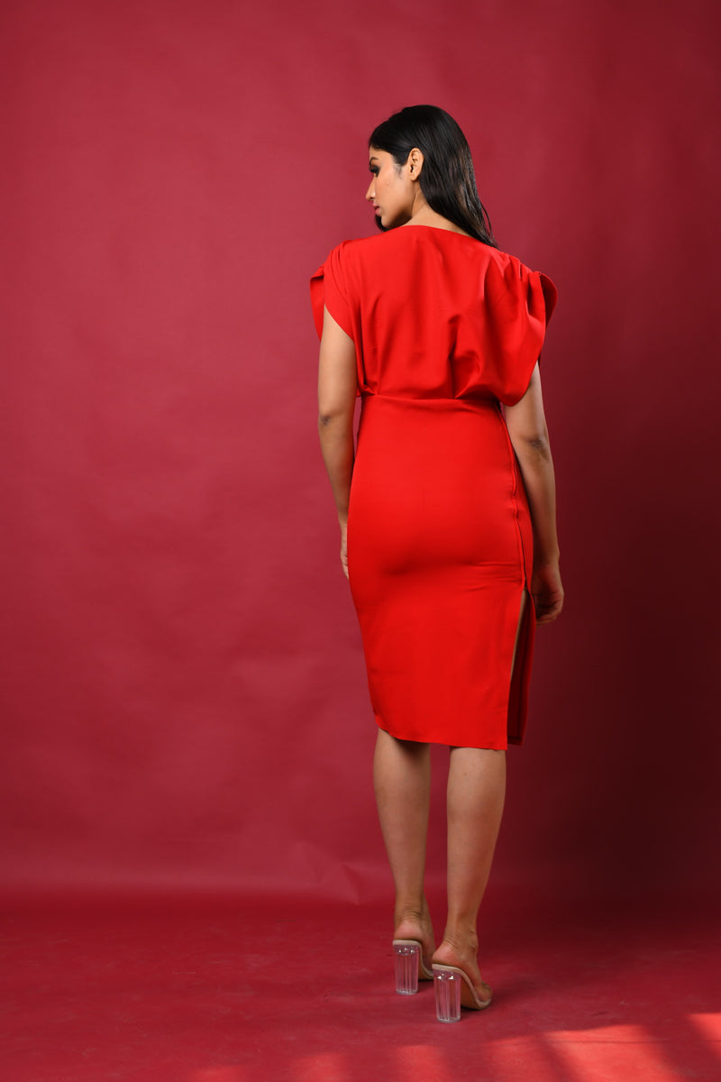 Gathered shoulder bodycon fitted dress with side show zip detail