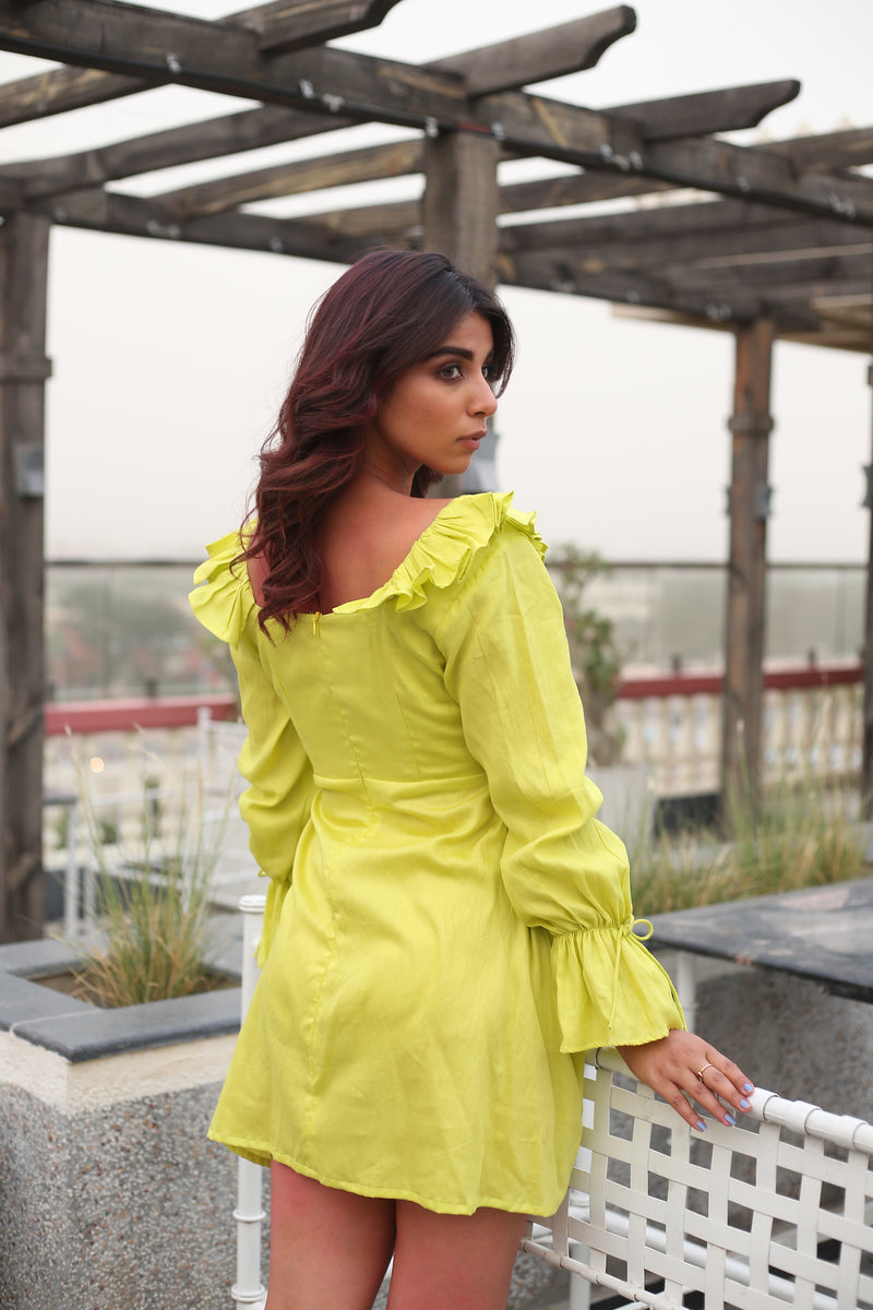 Neon Shoulder Ruffle with waist loops loose sleeves Flared Dress