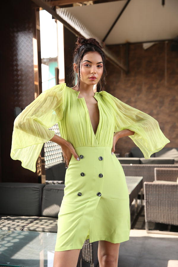 Double Breated neon blazer dress with chiffon exagerated cape