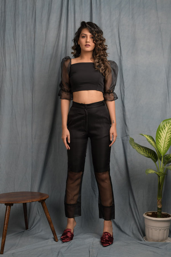 Half sheer pants with sheer sleeve crop top co-ords