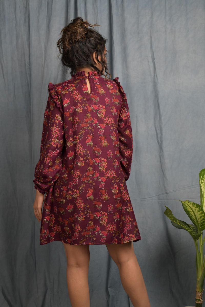 Floral pashmina cotton yoke pintucks dress