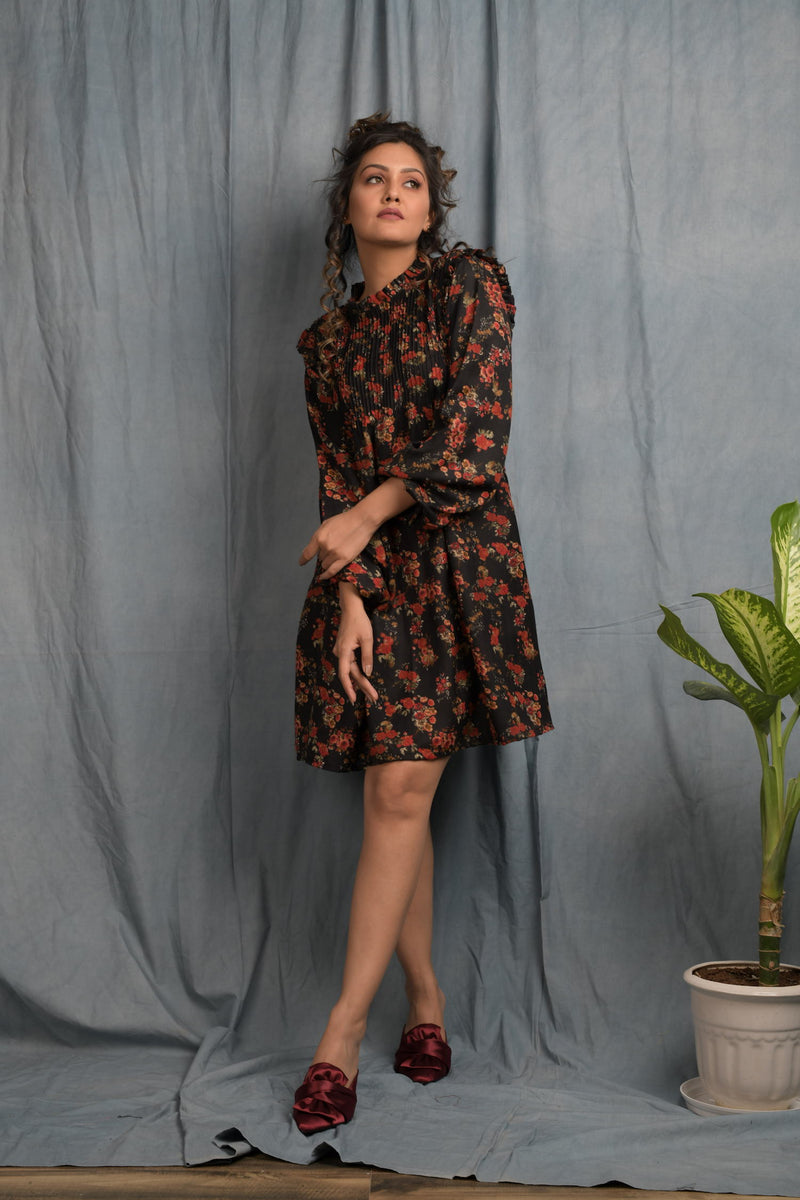 Black floral pashmina yoke pintucks dress