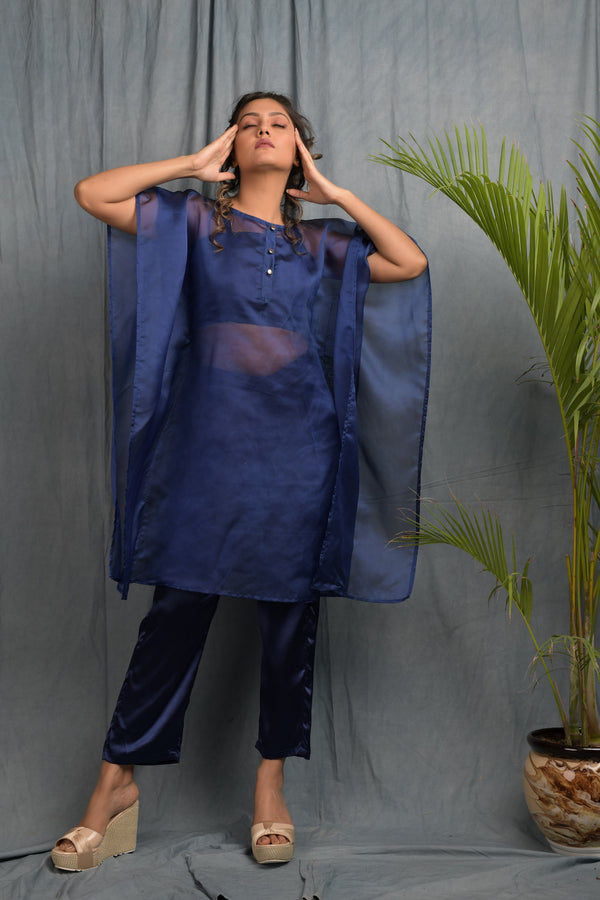Organza kaftan with crop top pants