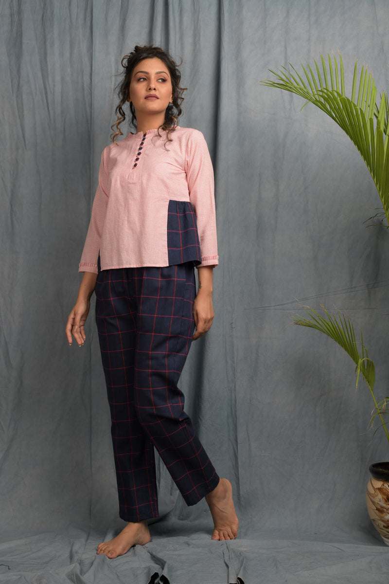 Checkered pants with colorblock yoke button top