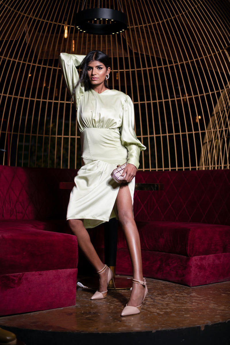 Satin Dress with Front Slit & Puff Sleeve with Long Cuff