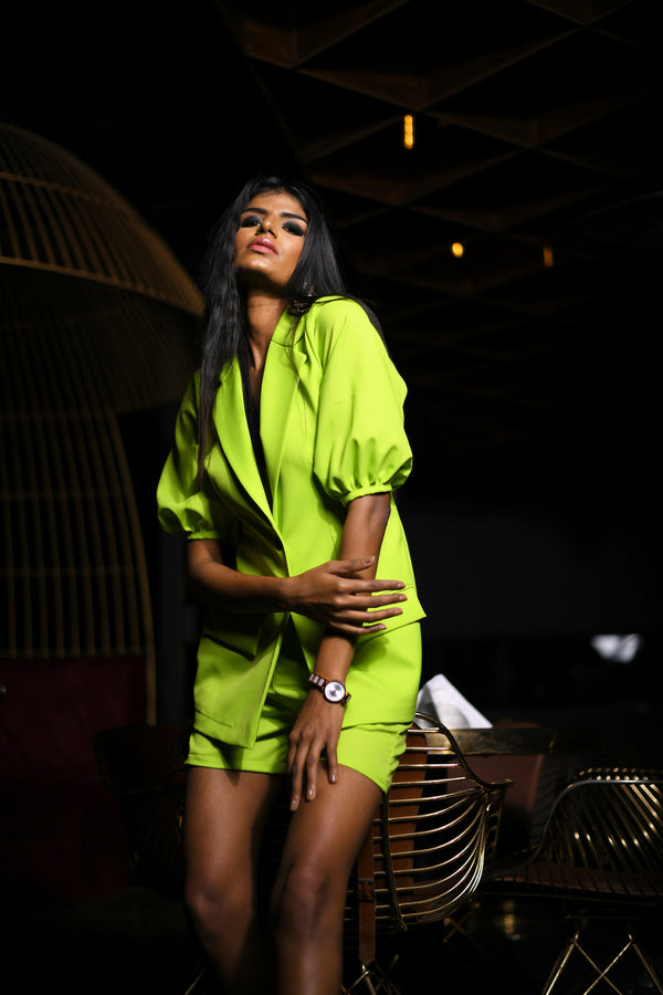 Parrot Green Blazer with Hot Pants Co-ord Set