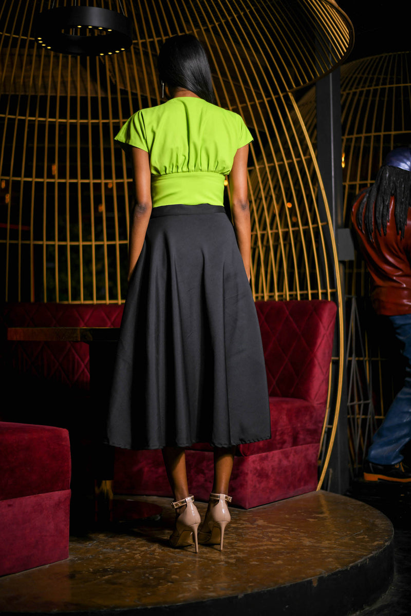 Parrot Green Drape Crop Top with Flared Black Skirt Co-ord Set