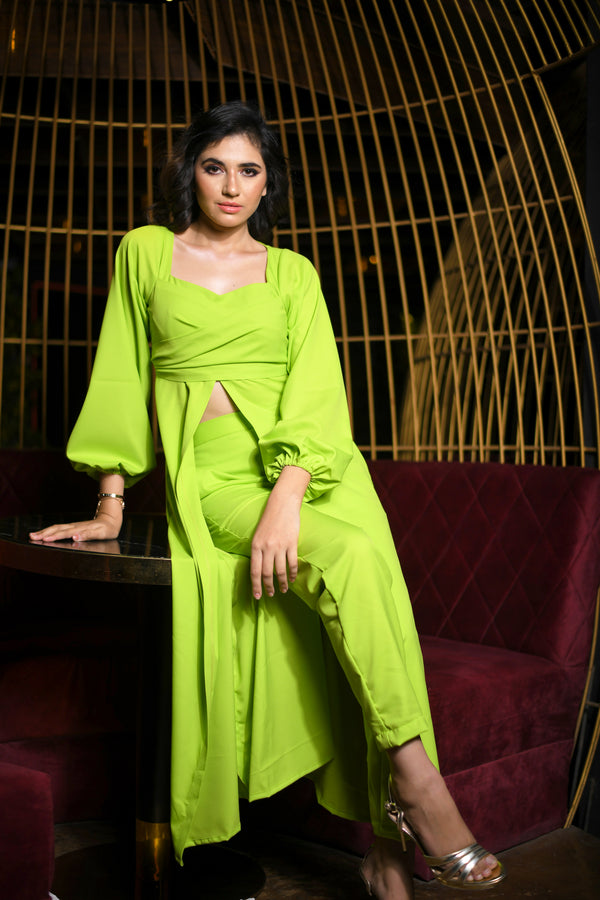 Parrot Green Front Mid-Slit Top with Straight Pants Co-ord Set