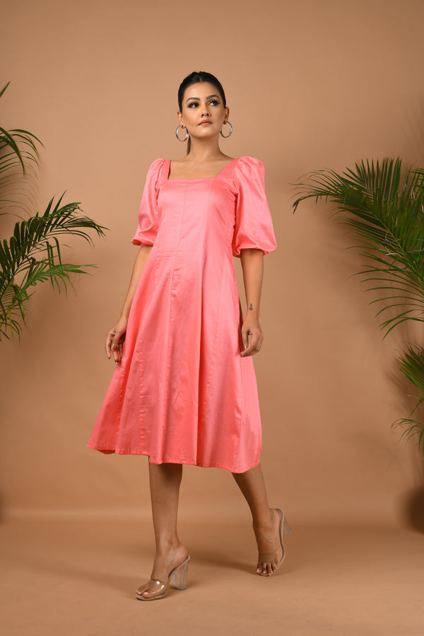 Pink midi with puff sleeve