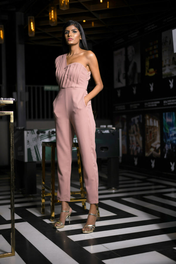 Pleated Bodice with One Side Tube & One Side Sleeveless Jumpsuit