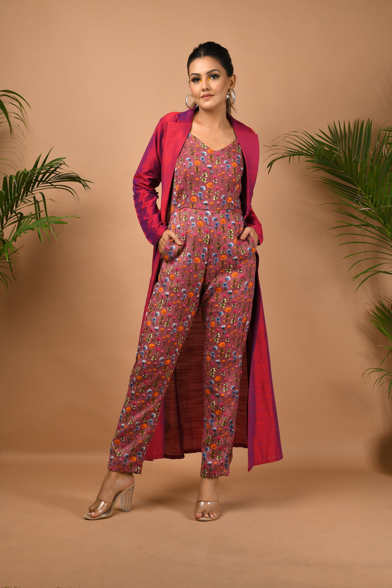 Onion pink floral jumpsuit with magenta long jacket