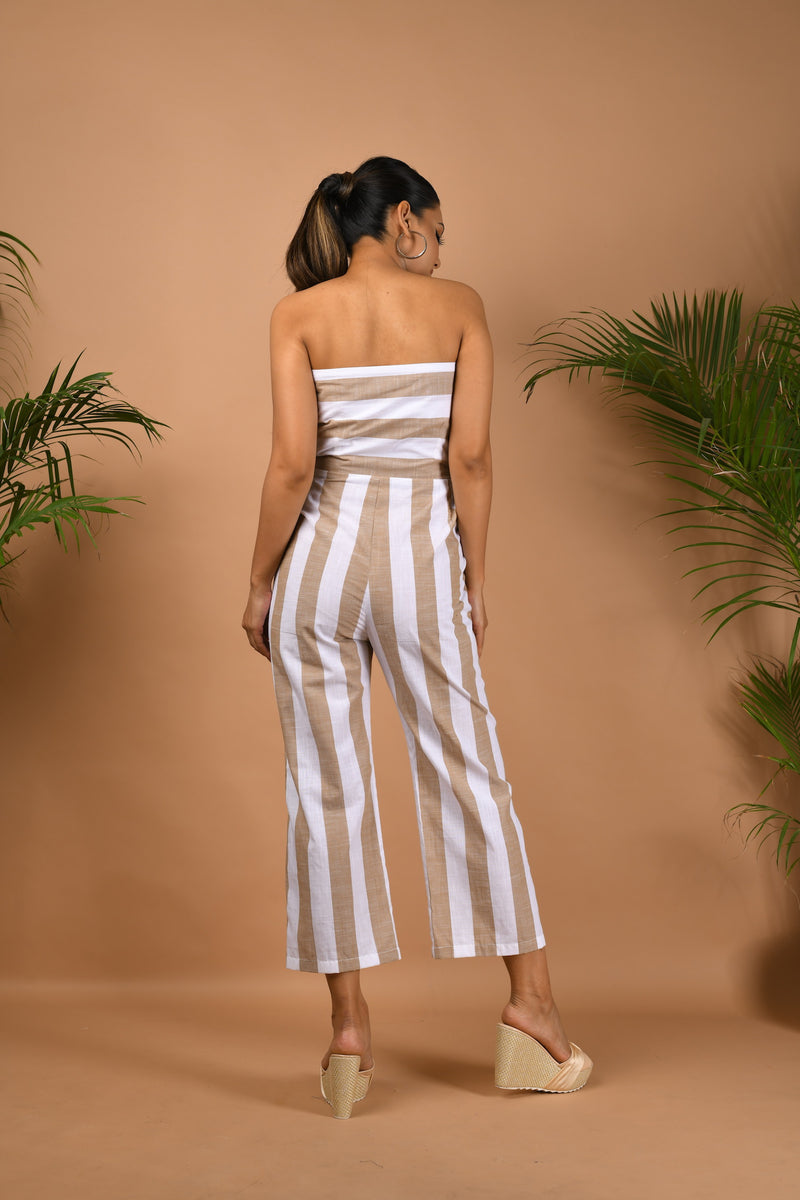Striped tube jumpsuit with mid-length jacket
