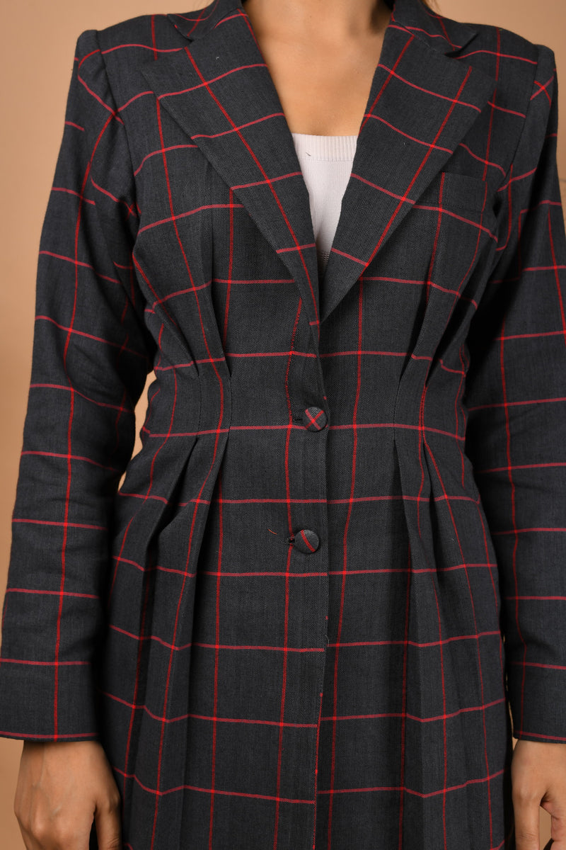 Grey & red checkered skirt with pleated blazer