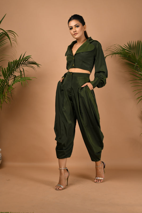 Military green cowl pants with cropped jacket