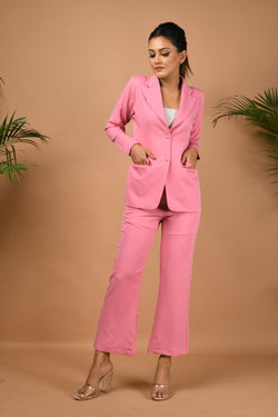 Pink blazer pants suit set