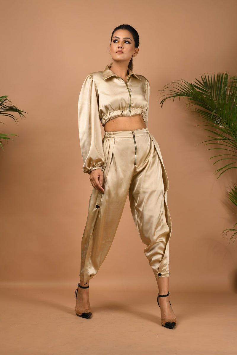 Bomber jacket with side slit buttoned pants