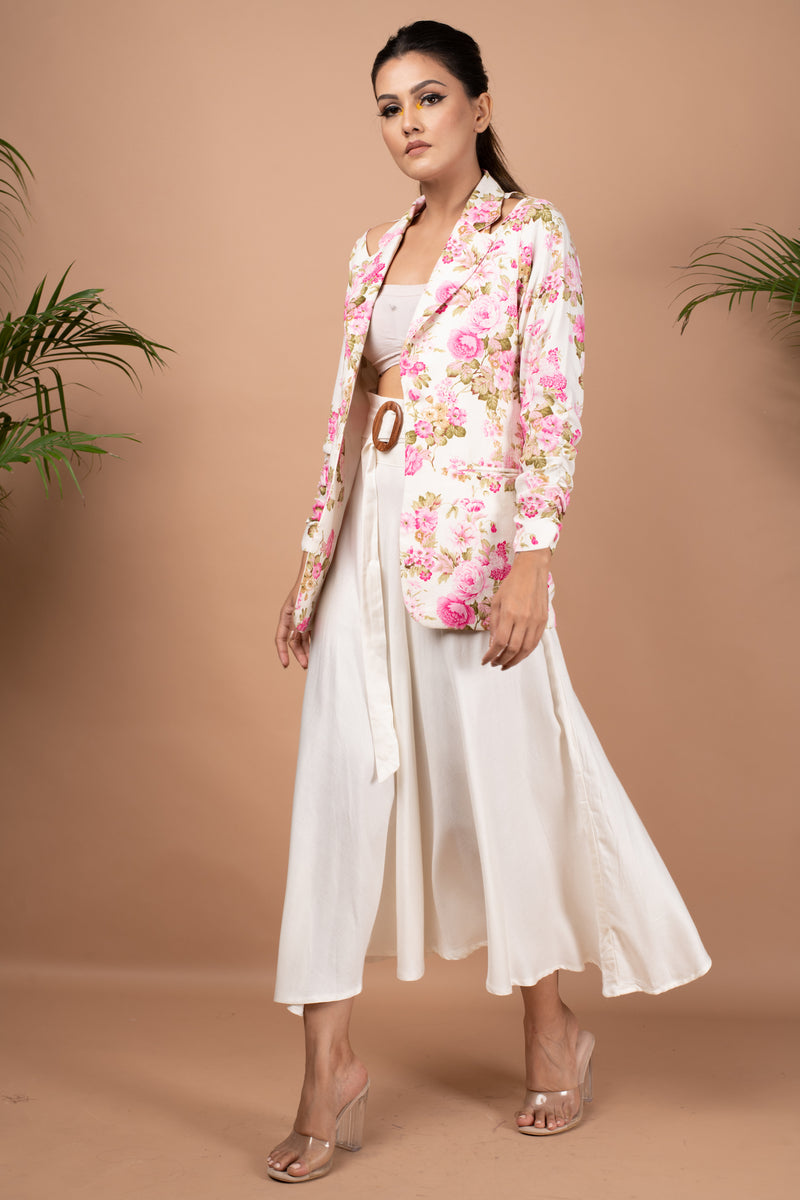 Floral jacket with shoulder cu-out & flarred skirt with belt