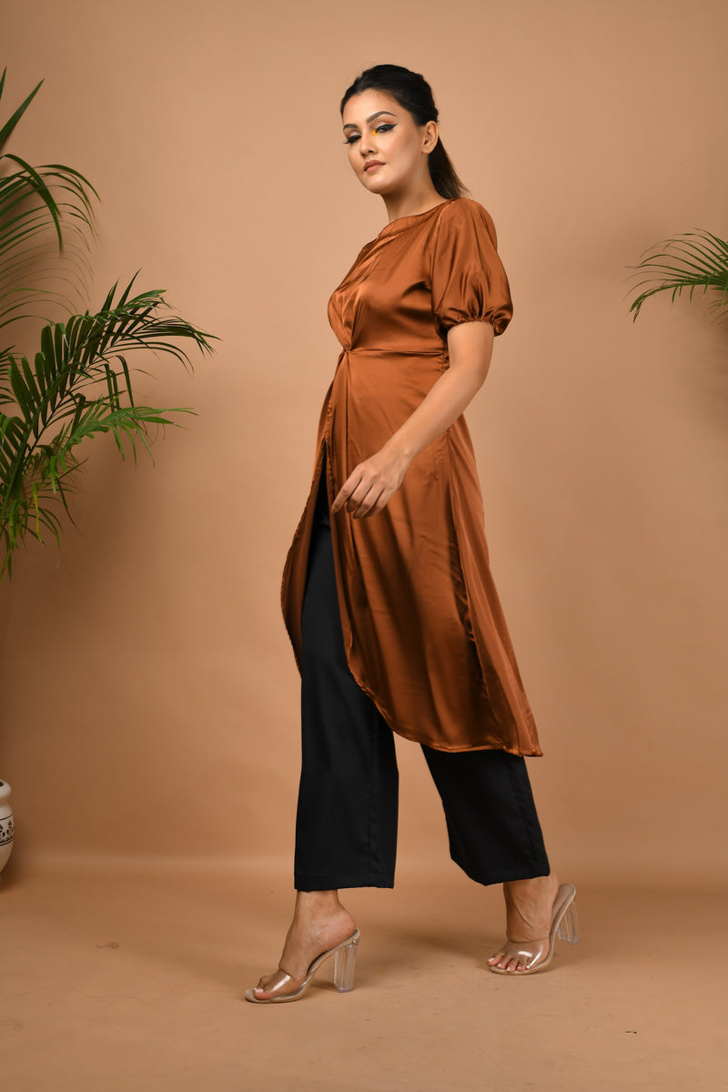 Satin front knot long top with black pants