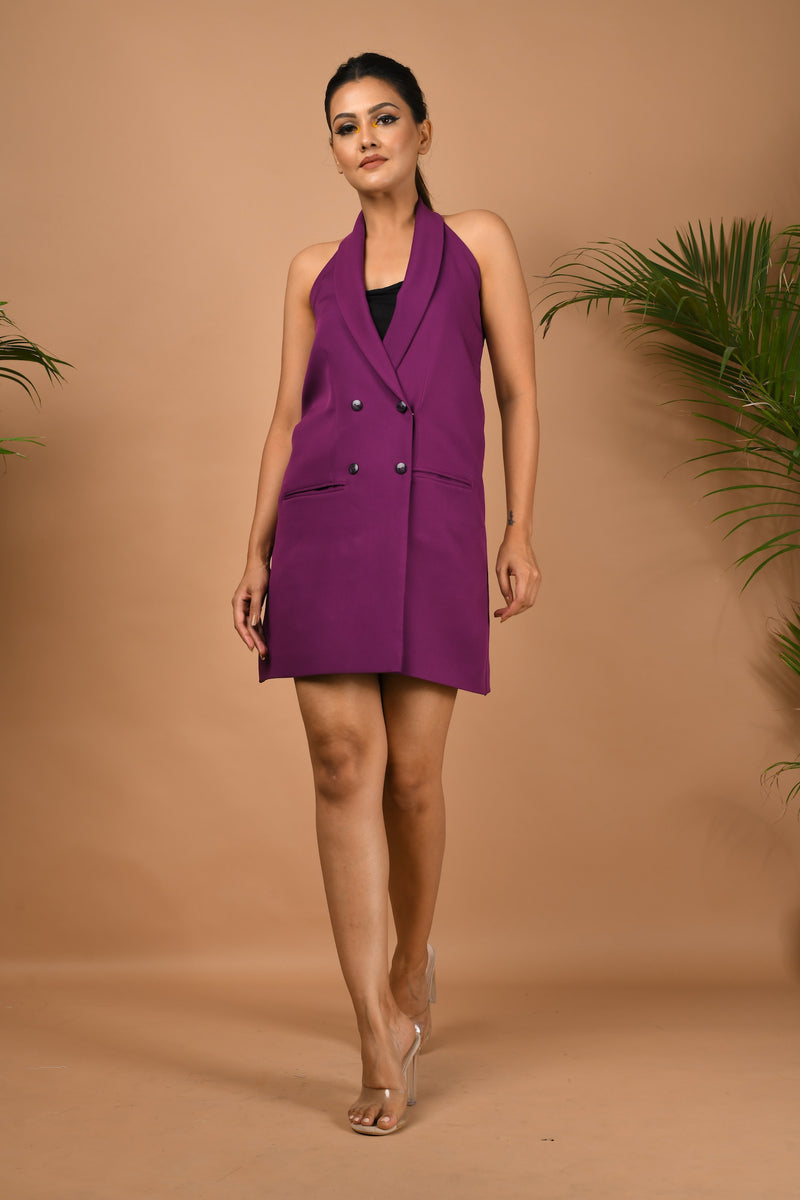 Purple halter neck blazer dress