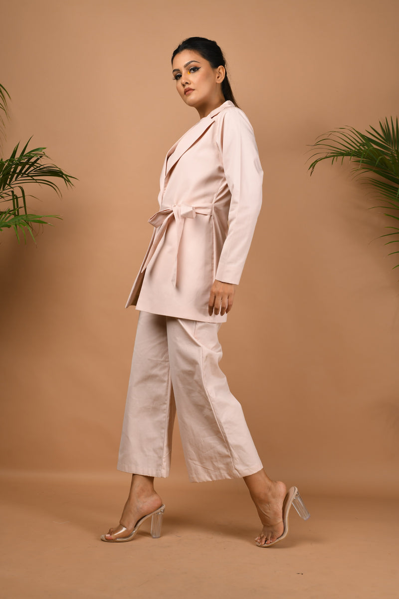 sleeveless jumpsuit with side knot blazer