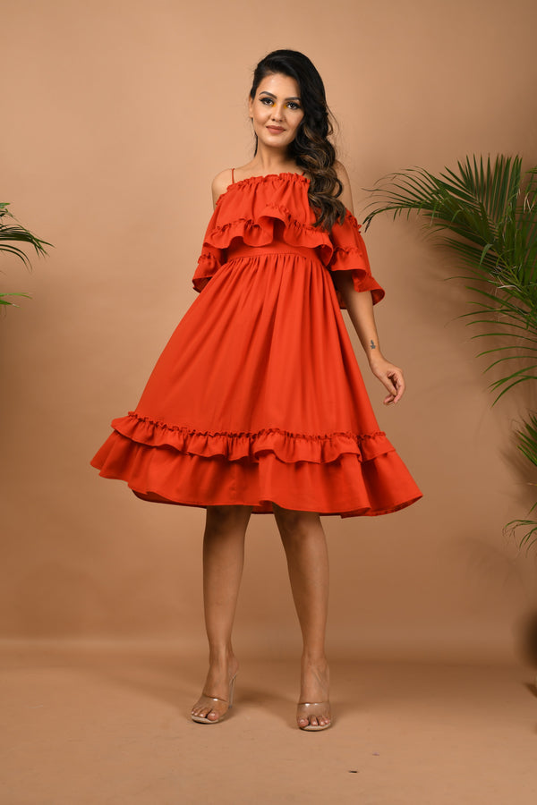 Cold shoulder Red ruffle waist with hem ruffle dress