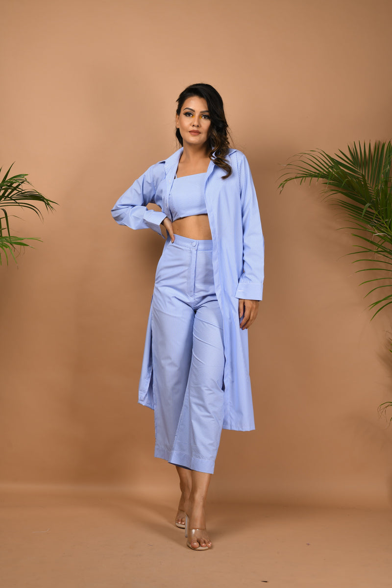 Light blue thin striped three piece co-ord set