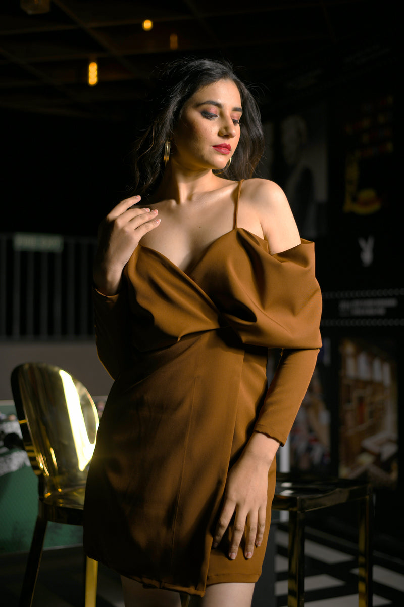 Off Shoulder Bust Draped Overlapped Tan Short Dress