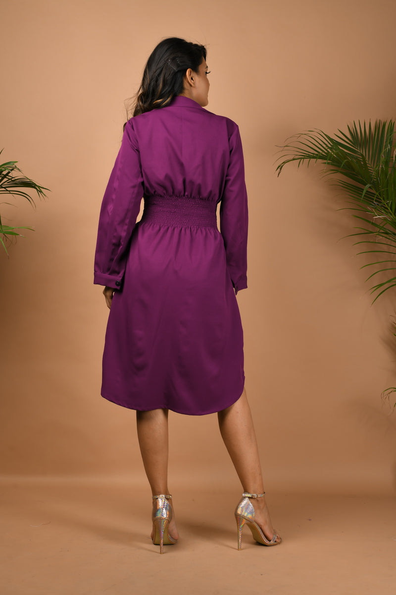 Smocking waist collared shirt dress