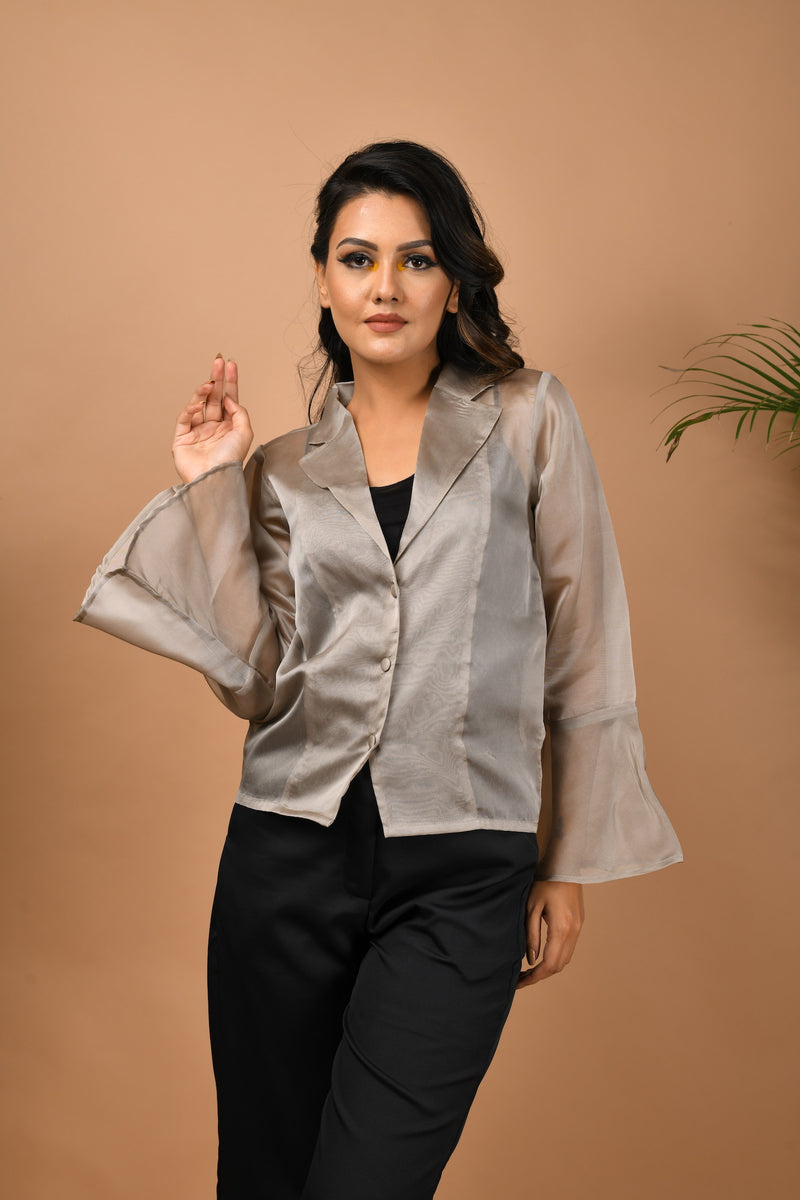 Organza front button top