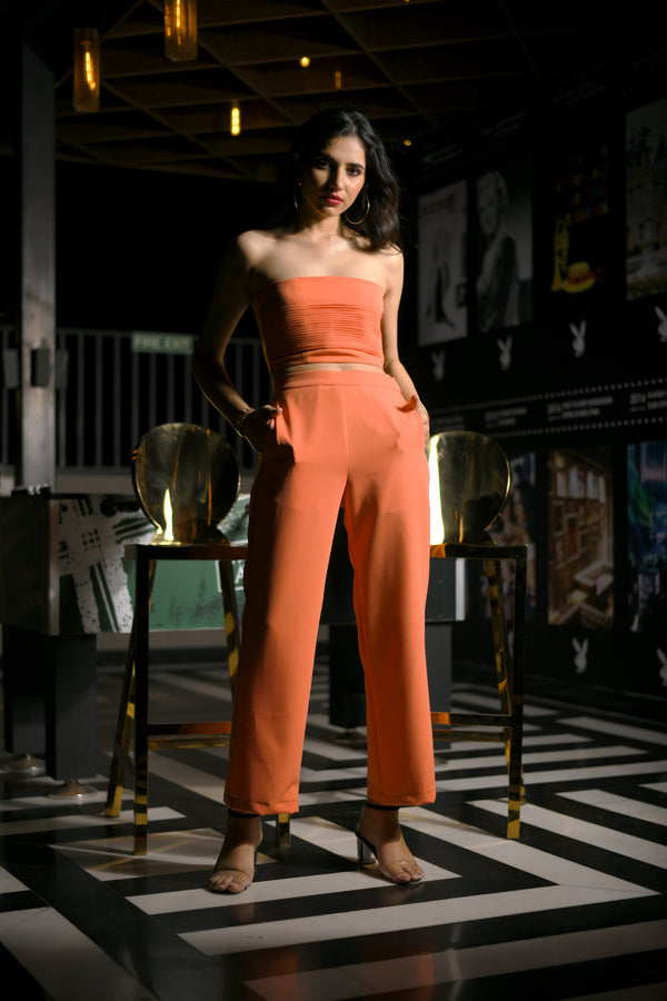 Neon Orange Pleated Tube with Straight Pants Co-ord Set