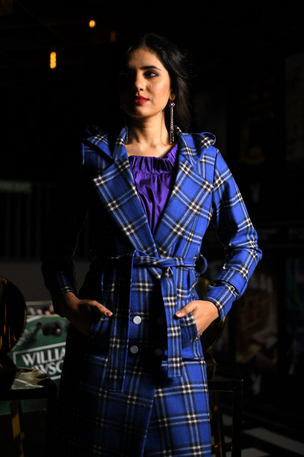 Blue Checkered Double Breasted Shoulder Loops Overcoat