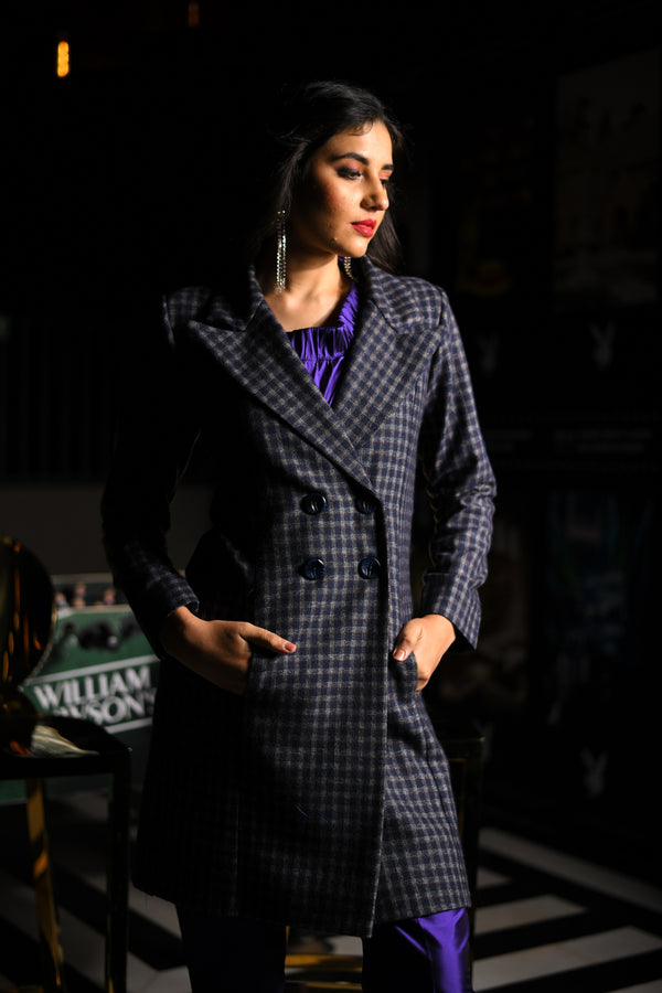 Checkered Double Breasted Woollen Blazer
