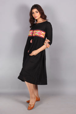 Aztec embroidered front knot midi dress