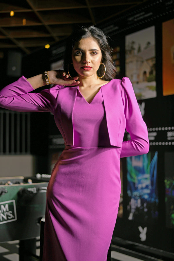 Bright Purple Self Stitched Crop Blazer Bodycon Dress