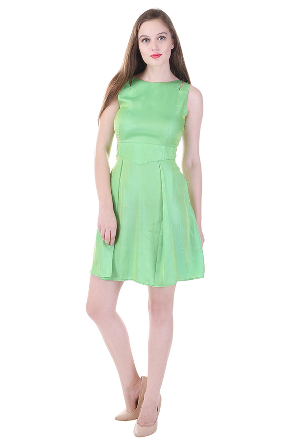 Green Satin Short Dress