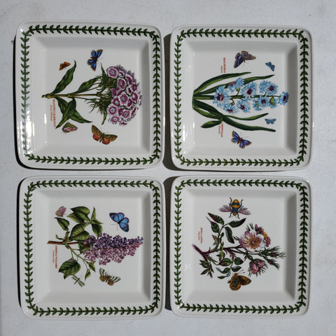 Four piece set botonic garden square 8.5 in plate set by PORTMEIRION ap47