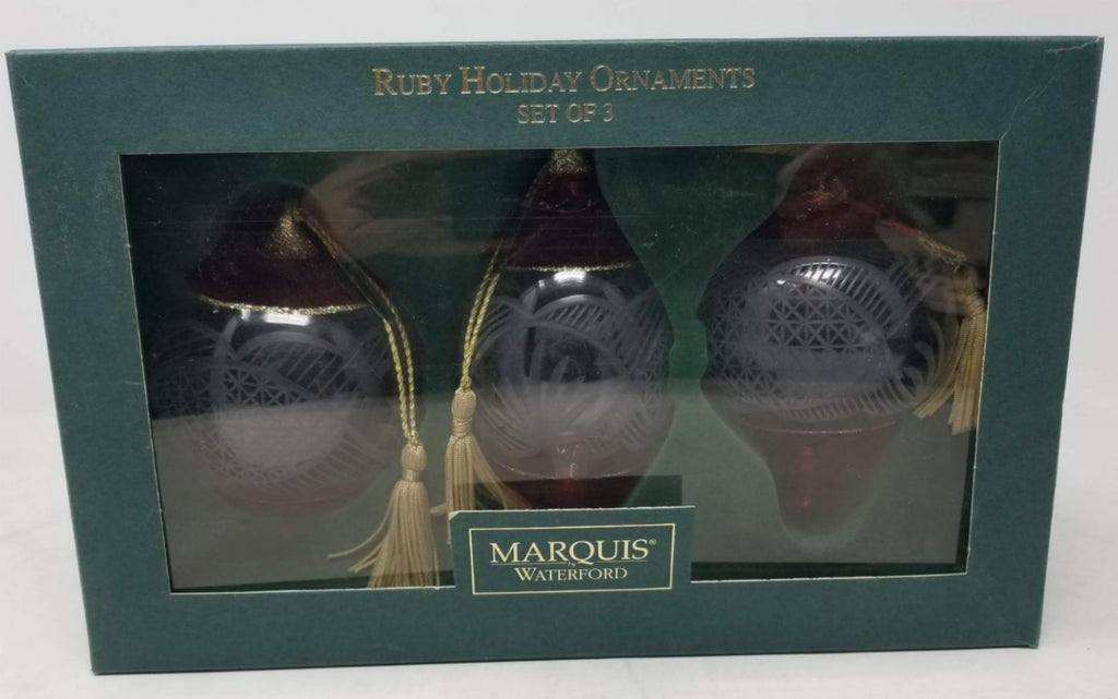 Waterford Marquis Ruby Holiday Ornaments Set Of 3 B2EC1