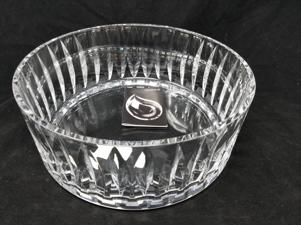 Orrefors 6552333 Crystal Tone Bowl with Pointed Oval Design $450 retail NIB b2c1