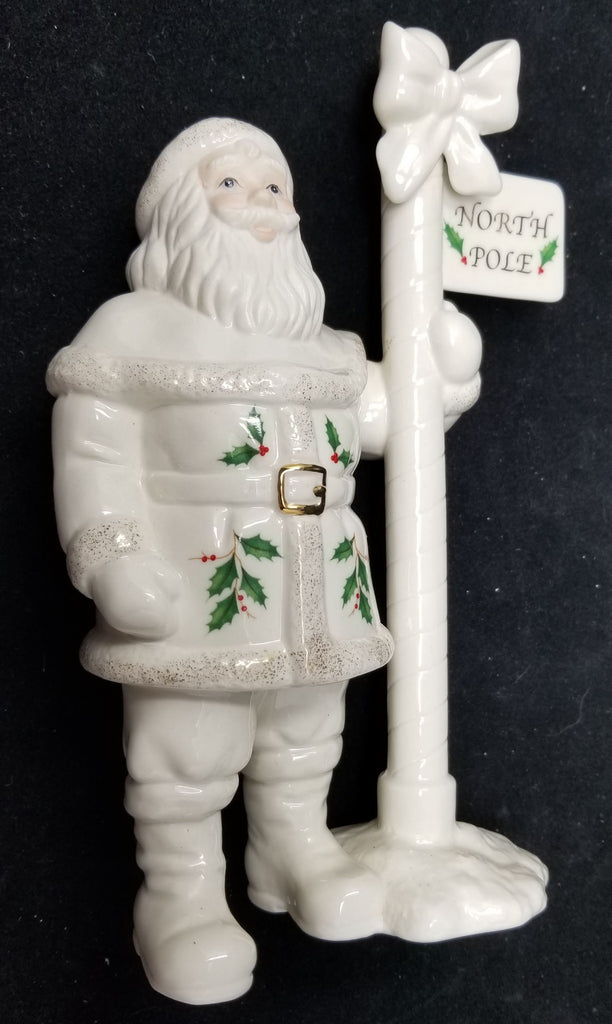 Lenox Santa North Pole Figurine Excellent Condition Holly Berry Collectible AP25