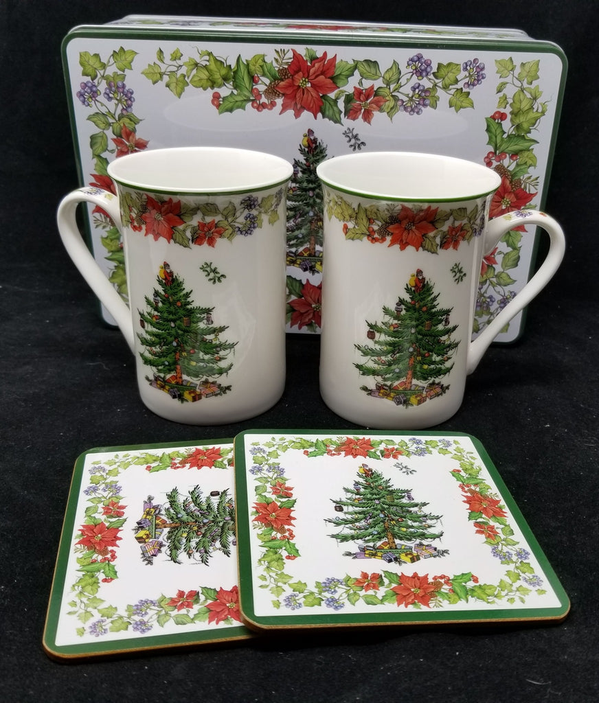 Spode Christmas Tree 5 PC Set Poinsettia Ceramic Mugs Coasters Storage Tin